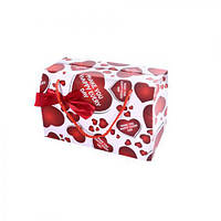 "(Цена за 12шт) Пакет-коробка подарочный ""Make you happy"" 19х27х14см, с ручками, коробка подарочная, коробка сувенирная на подарок, коробка для подарка"