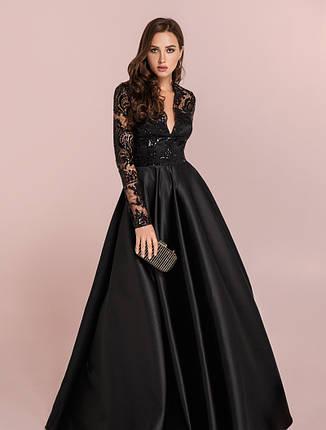 Неповторна вечірня сукня гіпюр атлас  чорна  розмір 42,44,46, фото 2