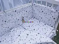 """Постельный набор в детскую кроватку (8 предметов) Premium """"Звездочка"""" белый, фото 1"""