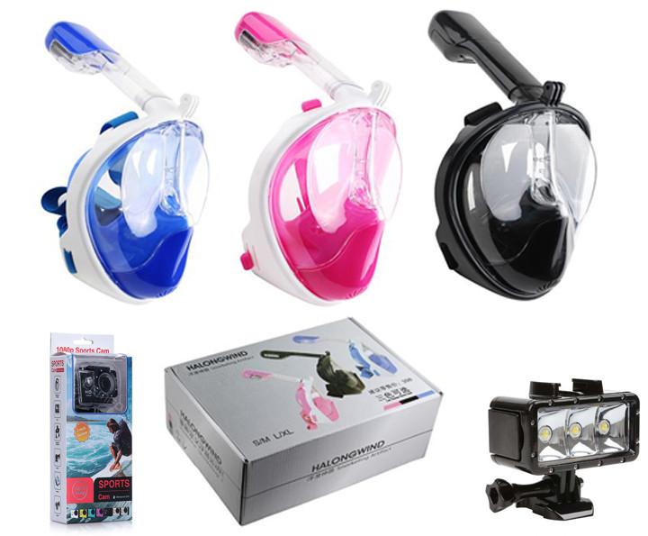 Полноценная маска для подводного плавания с камерой для подводной съемки и фонариком