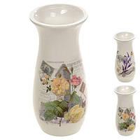 Ваза керамическая для цветов Flower R22389, глянец, белая, 6*22.5 см, керамическая ваза для цветов, вазочка для цветов, керамическая вазочка, вазы