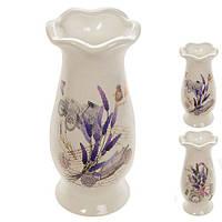 Ваза керамическая для цветов Flower R22387 белая, 6*22.5 см, керамическая ваза для цветов, вазочка для цветов, керамическая вазочка, вазы