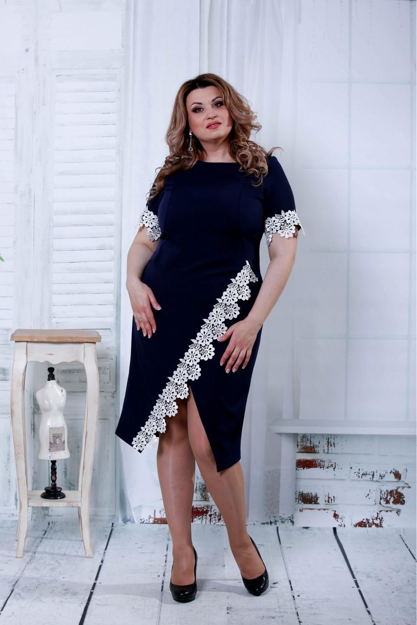 4a556b72109eb63 Синее платье-футляр больших размеров с кружевом 0813: 710 грн ...