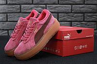 Кросівки Puma x Fenty Cleated Creeper Platform Suede Pink/Brown. Живе фото (Репліка ААА+)