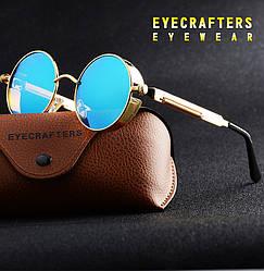 Ретро стиль мужские женские солнцезащитные очки Molniya Gold-Green