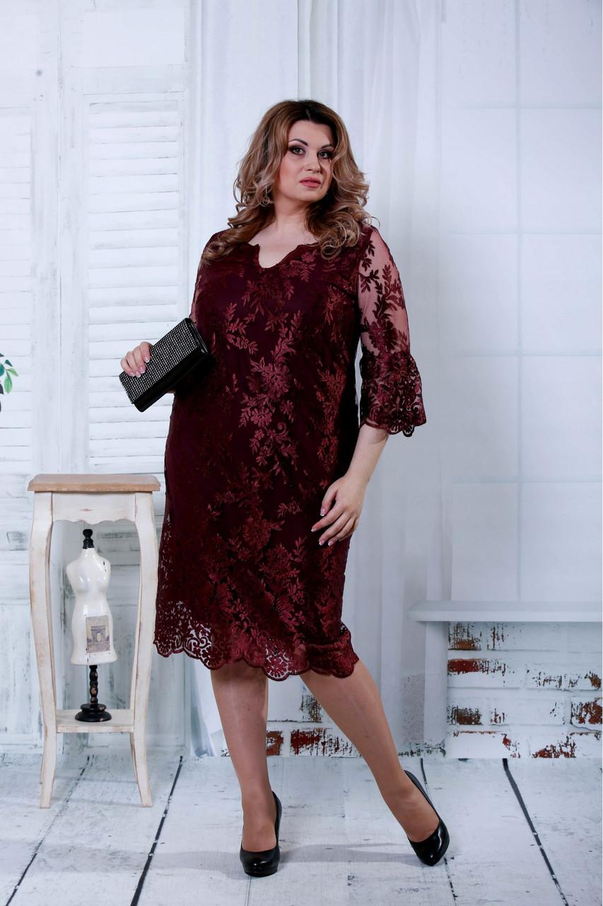71802b025ba6446 Бордовое гипюровое платье больших размеров 0814 - V Mode, прямой поставщик  женской одежды в Харькове