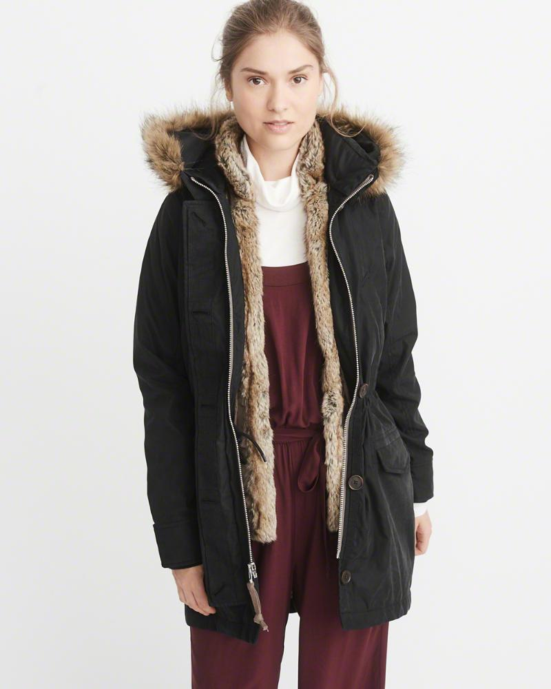 Парка Abercrombie & Fitch 3-IN-1 FAUX SHEARLING LINED PARKA M