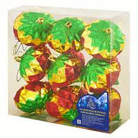 Новогодние елочные игрушки Орешки 8488 в наборе 9шт, пластик, 9,5 см, игрушка на елку, новогодние украшения, новый год, елочные украшения, новогодний