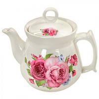 """Заварник керамический """"Букет роз"""" R81681, объем 1л, белый, Посуда для чая и кофе, Чайник, Чайник заварник, заварник для чая, заваривания чая,"""
