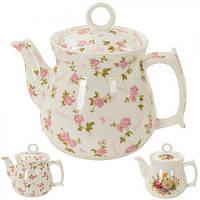 """Заварник керамический """"Мелкие розы"""" R81676, белый, объем 900мл, Посуда для чая и кофе, Чайник, Чайник заварник, заварник для чая, заваривания чая"""
