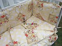 """Постельный набор в детскую кроватку (8 предметов) Premium """"Мишки спят"""" желтый, фото 1"""