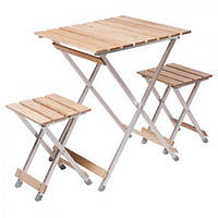 """Комплект раскладной мебели """"Alluwood"""" малый стол и 2 стула алюминий/дерево"""
