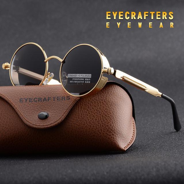 Ретро стиль мужские женские солнцезащитные очки Molniya Silver-Black