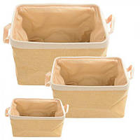 Корзина для хранения Rowan R82430 ткань, в наборе 3 шт, (30*20, 35*25, 40*30 см), бежевый, Корзины бельевые, Пластиковые корзины для вещей