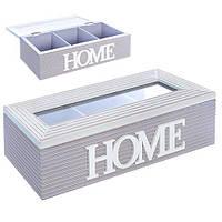 """Коробка для хранения чая """"Home"""" R22241 три отделения, 9*25*7см, МДФ, сиреневый, ящик для хранения, корзина, ящик, коробки для хранения, коробки"""