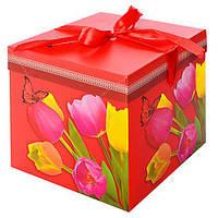 """Коробка подарочная бумажная """"Тюльпаны"""" N00371 квадратная, 15*15*15см, красный, ящик для хранения, корзина, ящик, коробки для хранения, коробки"""