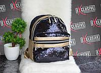 Блестящий золотистый рюкзак с паетками., фото 1