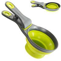 Мерная чашка R82366 с прищепкой, пластик / силикон, салатовый, кухонные принадлежности, мерный стакан, посуда, аксессуары для кухни, кухонные