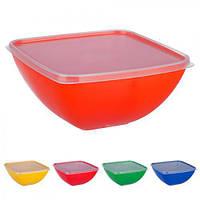 """Миска - салатница """"Maestro"""" PT-83184, пластик, 1,5л, квадратная, разные цвета, с крышкой, миска глубокая, салатник, миски"""