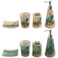 """Набор в ванную """"Морской"""" R82926, керамика 4пр/наб, набор для ванной комнаты, принадлежности в ванную"""