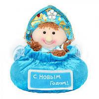 Новогодняя игрушка - корзинка для подарков микс D11142 ткань / пластик, голубой, игрушка на елку, новогодние украшения, новый год, елочные