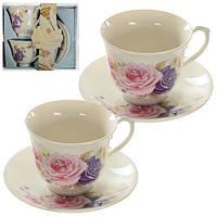"""Подарочный набор """"Чайный"""" R16789, на 2 персоны (чашки, блюдца), фарфор, набор для чаепития на двоих, чайный набор, набор для чаепития, посуда"""
