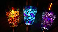 Светильник садово-парковый на солнечной батарее синяя мозаика Lemanso без выключателя, фото 2