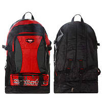 """Рюкзак походный """"Sports Line"""" T05496 черно-красный, 55см, полиэстер металл, 3 наружных кармана на молнии, 2 боковых кармана-сетки, рюкзак для"""