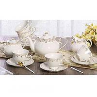 """Чайный сервиз фарфоровый """"Изящность"""" FY11025, набор 15шт (6 чашек 200мл, 6 блюдец 14,5см, молочник 350мл, сахарница 400мл, заварник 1.0л)"""