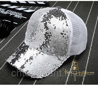 Бейсболка с двухсторонними пайетками белый-серебро