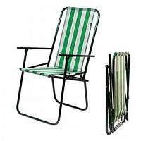"""Кресло раскладное """"Дача"""" зелено-белою полоску 86,5 см"""