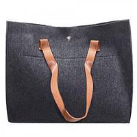"""Сумка женская войлочная """"Lisa"""" R16358 черный, 35х28.5х11см, кожаные ручки, женская сумочка, сумка из войлока, сумка для покупок, сумка тоут"""