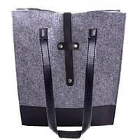 """Сумка женская войлочная """"Monica"""" 28.5х34х9см, кожаные вставки, длинный ручки, женская сумочка, сумка из войлока, сумка для покупок, сумка тоут"""