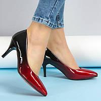 Туфли лодочки лак омбре красные, р 35, 36 , фото 1
