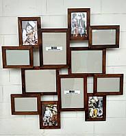 Деревянная эко мультирамка, коллаж #212 орех, белый, чёрный, венге., фото 1