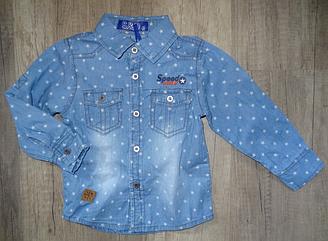 Джинсовая рубашка- трансформер для мальчиков, Венгрия ,S&D, 1-2 г., арт. KK-547 ,