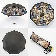 Женский зонтик с двойной тканью и городом изнутри.