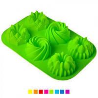 """Форма силиконовая Stenson """"Пудинг ассорти"""" HH-316 разные цвета, 33х23х4,6 см, товары для кухни из силикона, формы для выпечки, посуда, силиконовая"""