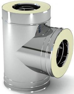 Тройник для дымохода 90° утеплённый, нерж\нерж., 100/160 мм (сталь 0,5 мм) AISI304 (Польша)