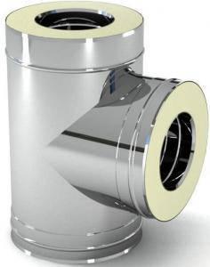 Тройник для дымохода 90° утеплённый, нерж\нерж., 100/160 мм (сталь 0,5 мм) AISI304 (Польша), фото 2