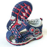 Детские босоножки сандалии для мальчика синие с красным Солнце 24р.