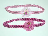 Повязка для волос, розовый, три цветка(6 шт) 11_2_31