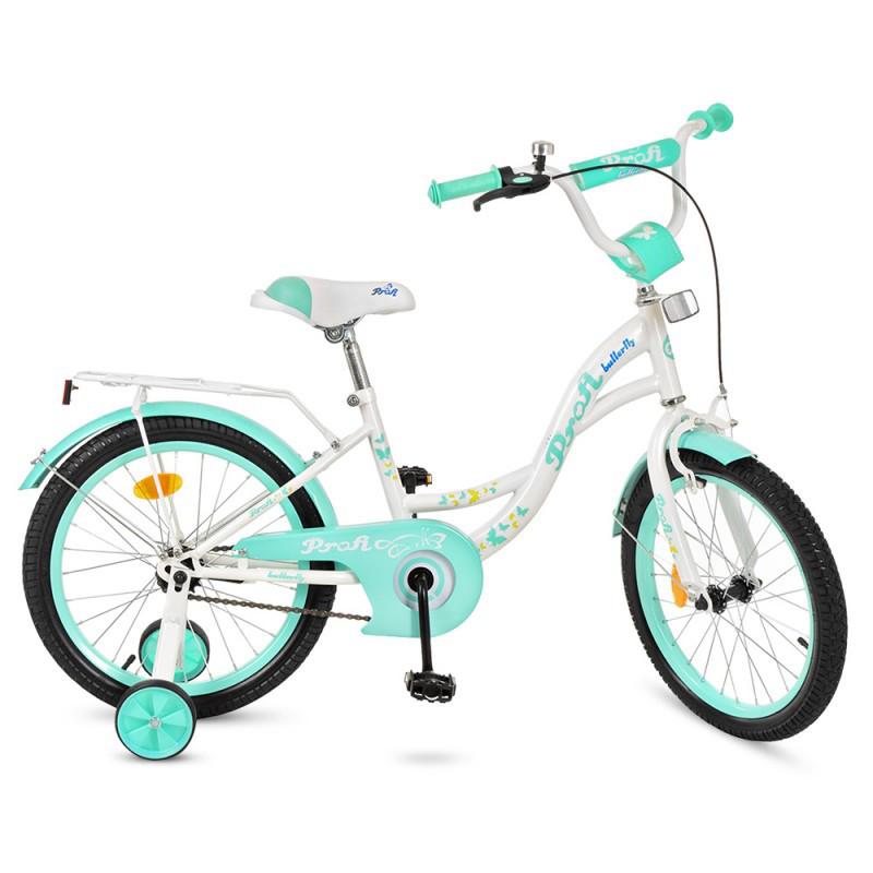 Детский двухколесный велосипед для девочки PROFI 18 дюймов Butterfly бело-мятный,  Y1824