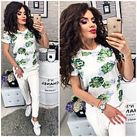 Оригинальная белая футболка принт цветы