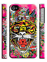 Чехол  для iPhone 4/4s ed hardy тигр