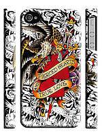 Чехол  для iPhone 4/4s ed hardy сердце