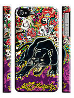 Чехол  для iPhone 4/4s ed hardy пантера