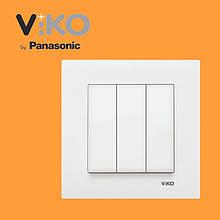 Вимикач 3-х клавішний VIKO Karre Білий