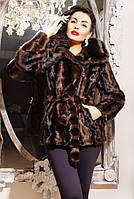 Шуба женская Николь коричневый паркет, искусственная шуба