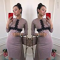 Женское стильное ангоровое платье с оригинальной вставкой